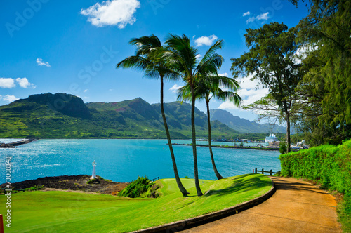 Beautiful view of Nawiliwili, Kauai Island, Hawaii, USA - 73008348