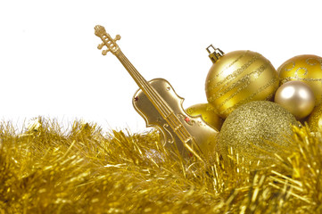 christmas decoration with golden glitter ball