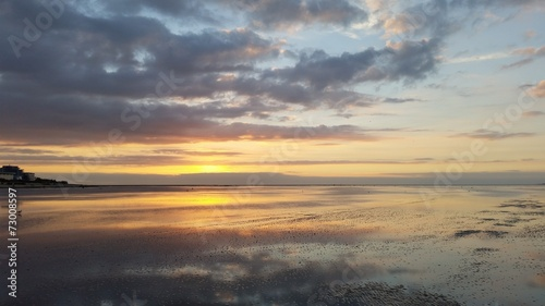 canvas print picture Sonnenuntergang im Watt