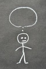 Traurige Figur mit Sprechblase und Textfreiraum