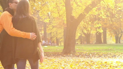 Young couple walking in the park, slow motion.
