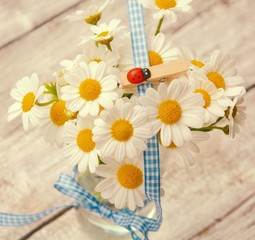 Blumengruß mit Glückskäfer