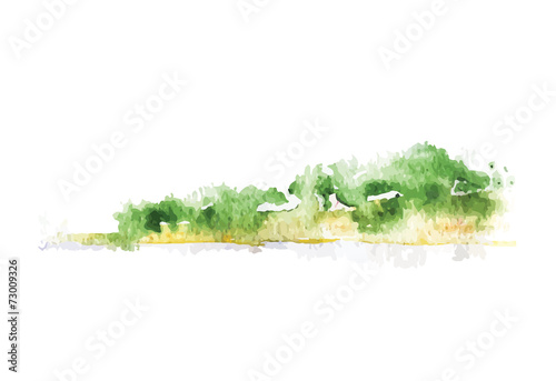 Watercolor beach with forest, vector - 73009326