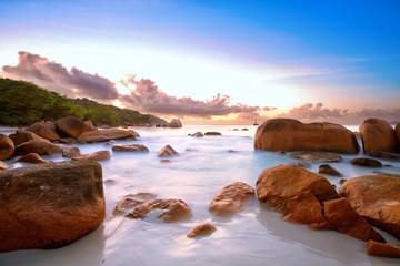 Granite rocks at Anse Lazio beach at sunset, Praslin, Seyshelles