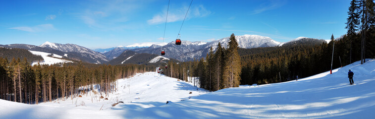 Panorama of cableway in Jasna Low Tatras, Slovakia