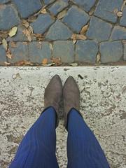 Calze blu e foglie cadute