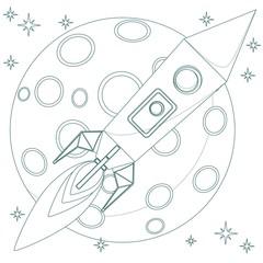 Rocket in sky with moon background loop