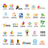 large set of vector logos social