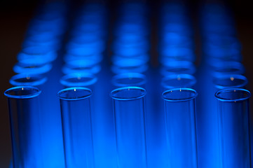 Rows of glass test tubes blue