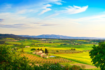 Maremma, rural sunset landscape. Countryside farm and green fiel