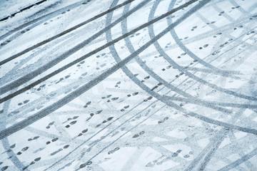 Snowy urban street background