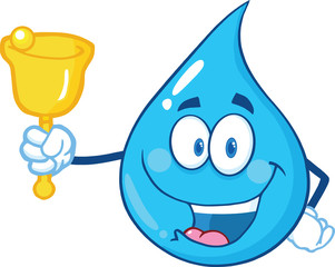 Water Drop Character Waving A Bell For Donation