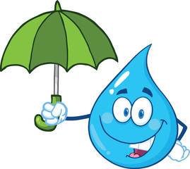 Smiling Water Drop Character With Umbrella