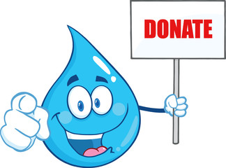 Water Drop Character Holding Up A Blank Sign With Text Donate