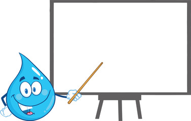 Water Drop Character Holding A Pointer Presenting On A Board