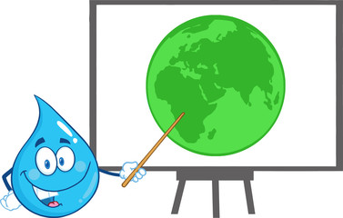 Water Drop Holding A Pointer Presenting On A Board Green Earth