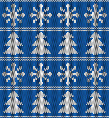 Seamless blue and white knitted vector pattern