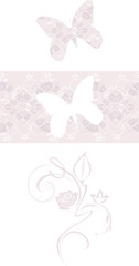 Stylized butterfly and ornamental border. Decorative element