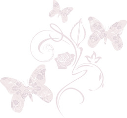 Stylized ornamental butterflies. Decorative element