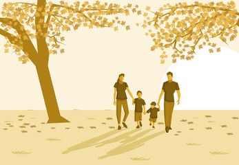 Family in the park on autumn