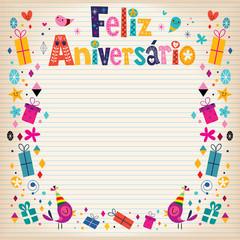 Feliz Aniversario Brazilian Portuguese Happy Birthday card