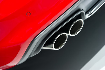 Chrome exhaust pipe red sport car bumper