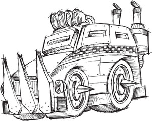 Armored Car Vehicle Sketch Vector Illustration Art