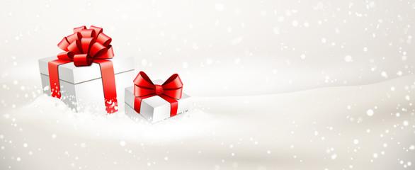 Verschneite Geschenkpakete