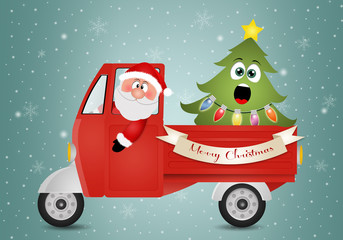 Santa Claus in van with Christmas tree