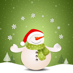 Funny snowman with snowflakes