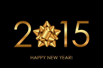 Vector 2015 Happy New Year background with gold bow