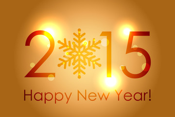 Vector - Happy New Year 2015 - gold glowing background