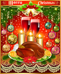 card for christmas turkey wine candles and Christmas balls