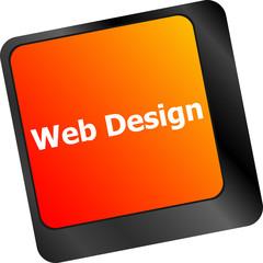 Web design text on a button keyboard key