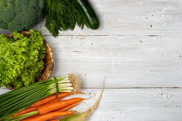 Vegetables left frame on the white background