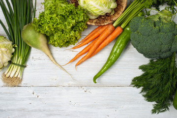 Vegetables mix on the white background