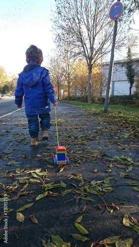 canvas print picture Kind zieht holzspielzeug herbstlaub