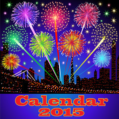 cover of calendar with fireworks night city