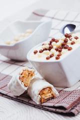 Vanilla pudding with chocolate decoration