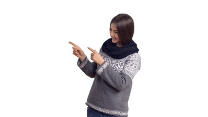 charming happy woman in winter sweater  show copy space