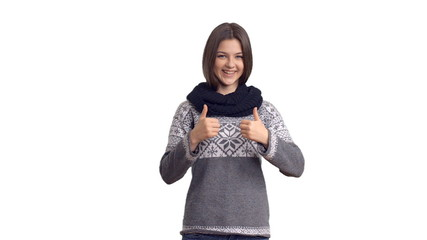Young beautiful girl in winter sweater show copy space