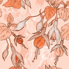 pattern with fuchsia flowers