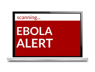 Ebola Alert red computer screen isolated