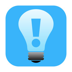 Idea lamp icon with exclamation mark