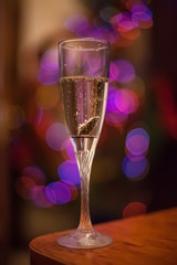 Flute of champagne in holiday setting