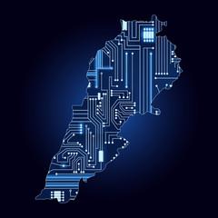 Map of Lebanon with electronic circuit