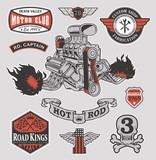 Fototapety Hot rod engine motor graphic set