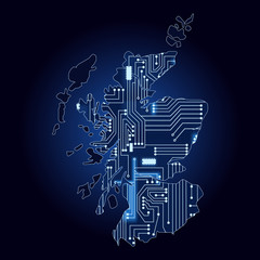 Map of Scotland with electronic circuit
