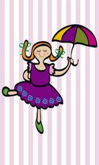 Niña feliz con paraguas.