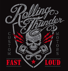 Motor skull and pistons crest graphic